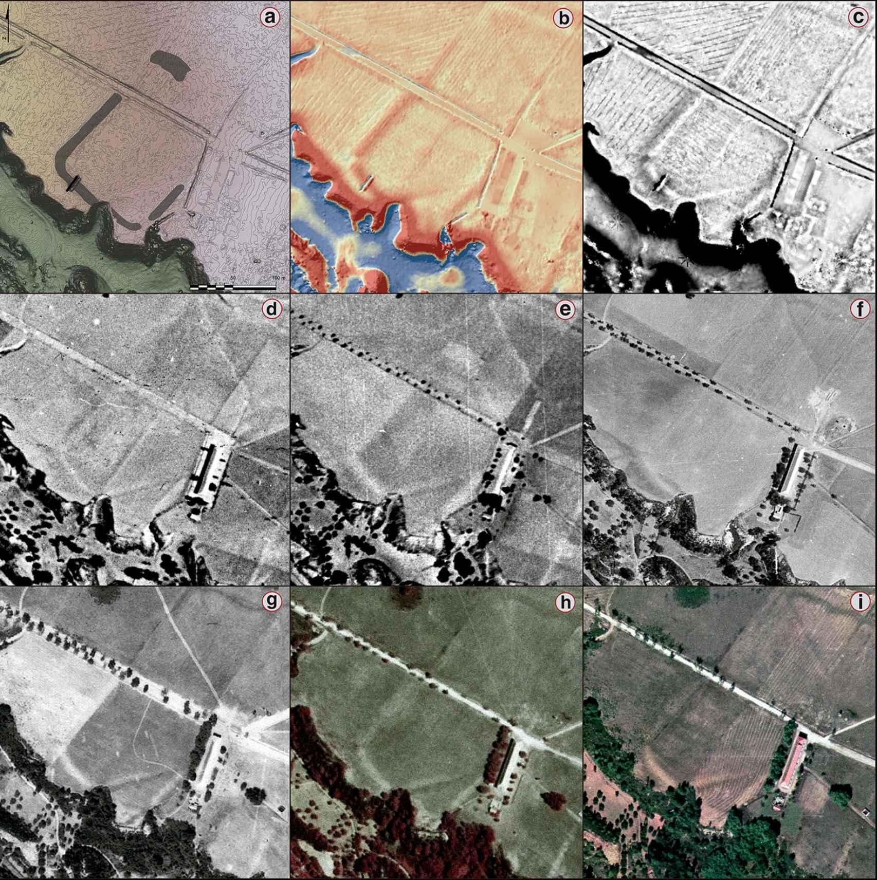 Distintas imágenes aéreas del campamento de Mina da Presa.