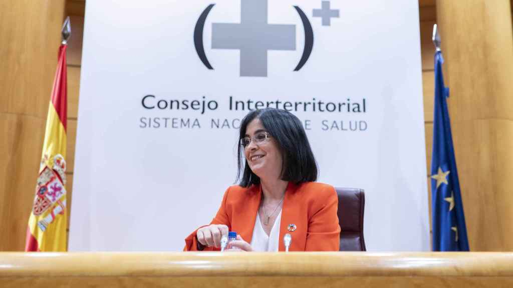 La ministra de Sanidad, Carolina Darias, en la rueda de prensa del Consejo Interterritorial del Sistema Nacional .