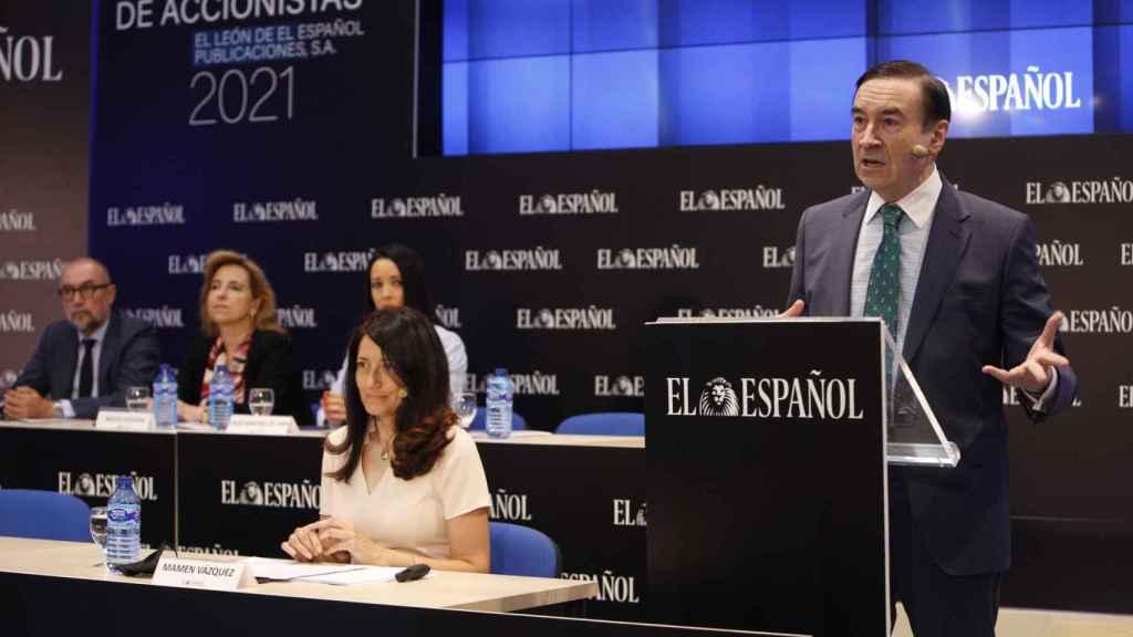 Pero J. Ramírez durante su discurso en la Junta de Accionistas de EL ESPAÑOL.
