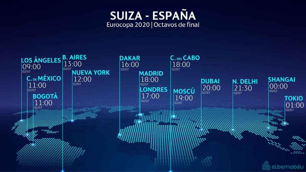 El horario internacional del Suiza - España de la Eurocopa