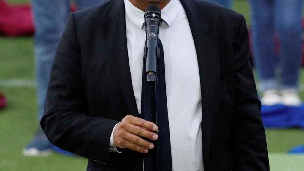 Joan Laporta, durante la presentación de la camiseta del Barça