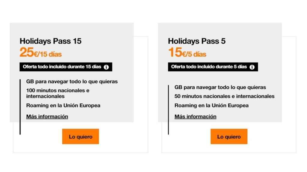 Orange Tarifas Holidays Pass