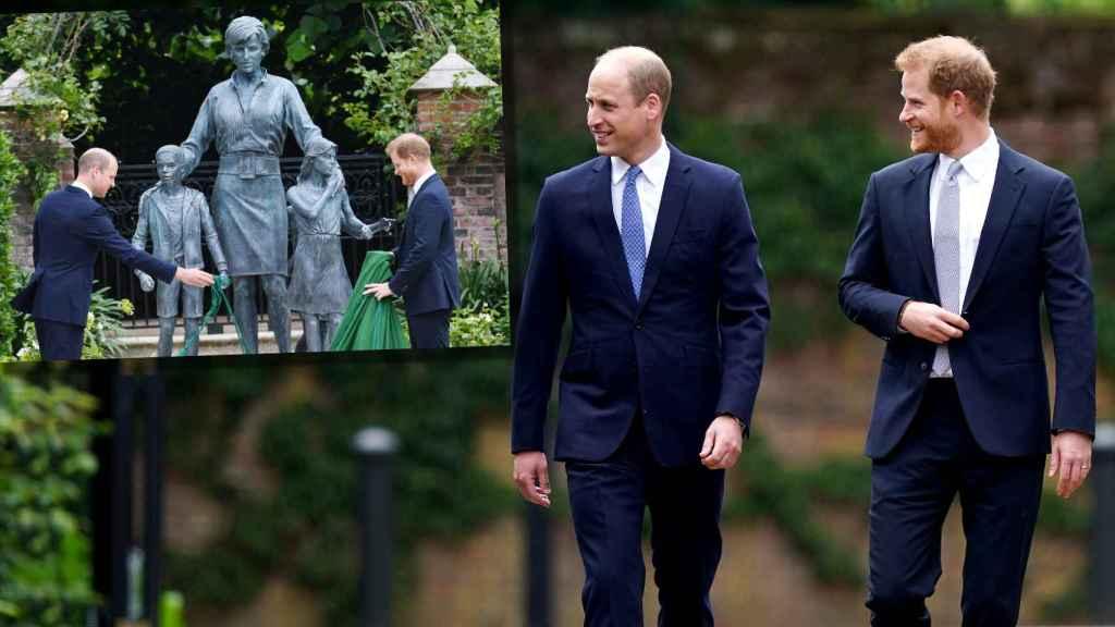 Harry y Guillermo de Inglaterra, en el homenaje a su madre este jueves.