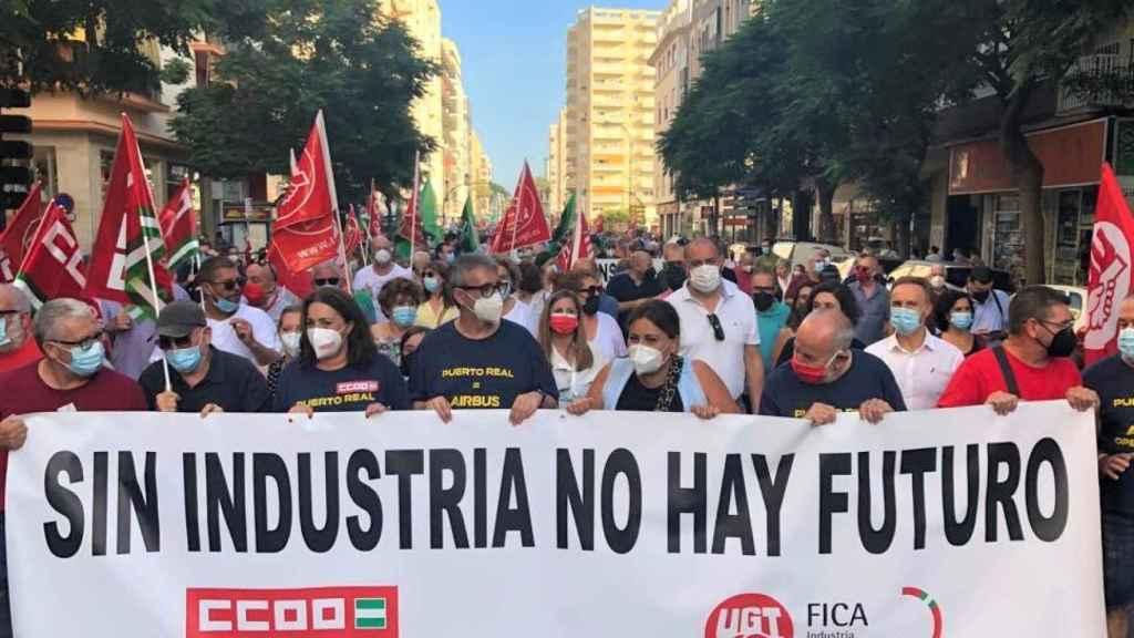 Movilización contra el cierre de Airbus en Cádiz.