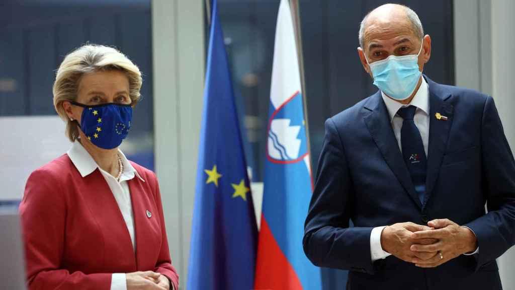 Ursula von der Leyen y Janez Jansa, durante su reunión este jueves en Liubliana
