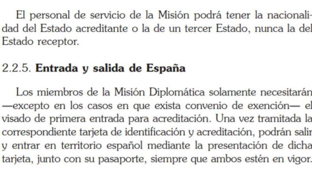 Fragmento de la Guía práctica para el personal diplomático acreditado en España publicada por Exteriores en 2017.