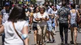 El centro de Madrid una vez levantada la obligatoriedad de la mascarilla. Alejandro Martínez Vélez / EP