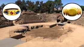 Anfiteatro de Mérida y dos de los anillos del ajuar de Norbana Severa.