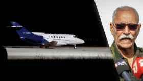 Brahim Ghali y el avión con el que abandonó España tras declarar ante el juez.