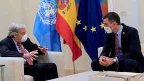 El presidente del Gobierno, Pedro Sánchez, reunido con el secretario general de Naciones Unidas, António Guterres.