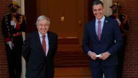 El secretario general de la ONU, Antonio Guterres, y el presidente del Gobierno, Pedro Sánchez, este viernes en Moncloa.