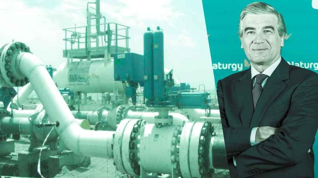 El presidente de Naturgy, Francisco Reynés, y el gaseoducto de Medgaz.