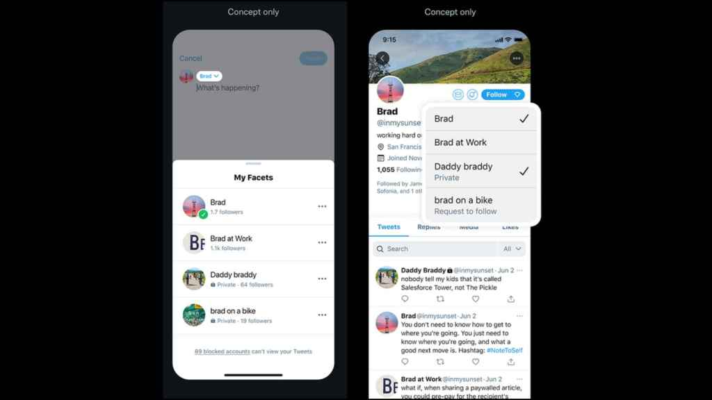 Twitter would allow creating multiple identities with content preferences.