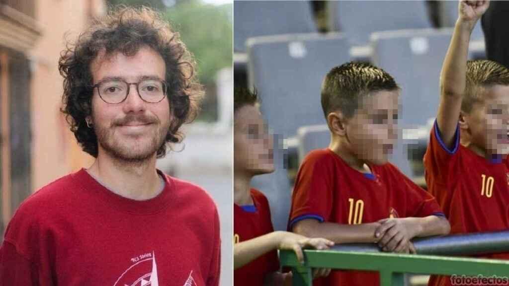 Pol Gómez Buch (izquierda) abronca a un niño por llevar la camiseta de la selección. A la derecha, una imagen de archivo.