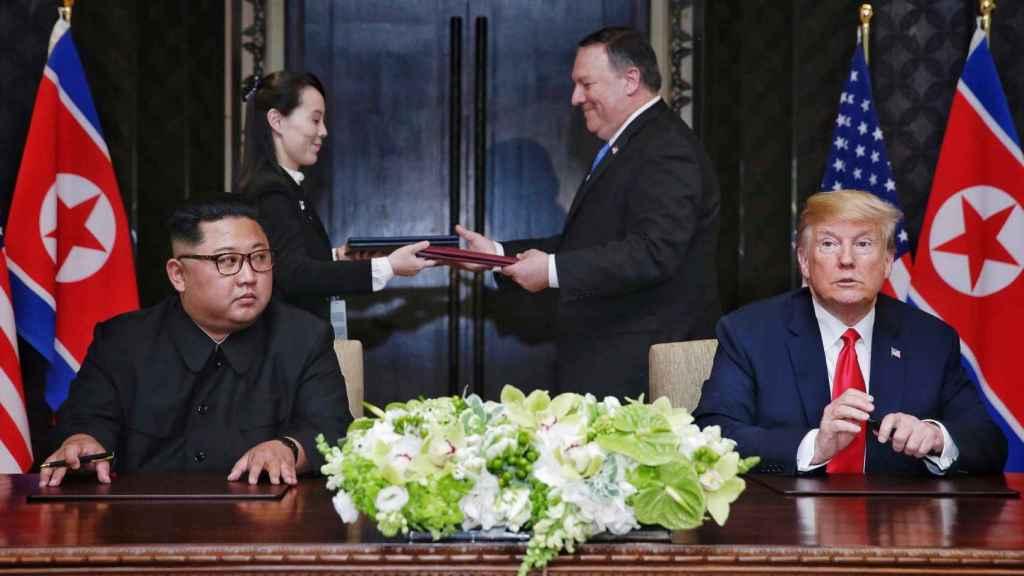 Kim Jong-Un con el expresidente de Estados Unidos, Donald Trump.