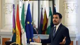 Alberto Garzón en un acto este viernes en el Ayuntamiento de Málaga.