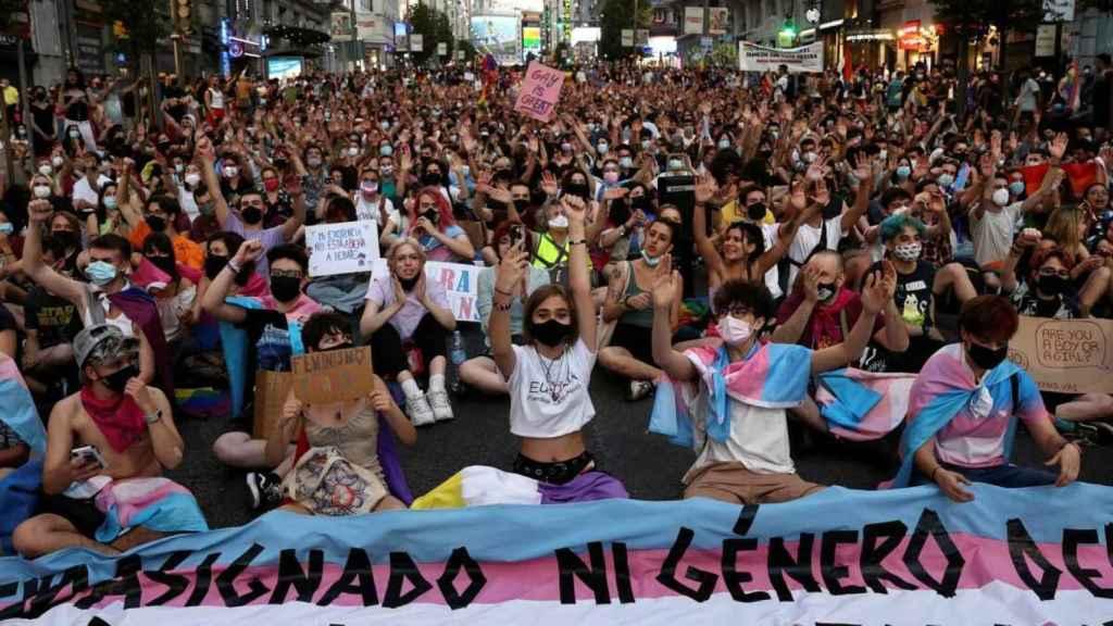 Manifestación convocada por Orgullo Crítico en Madrid.