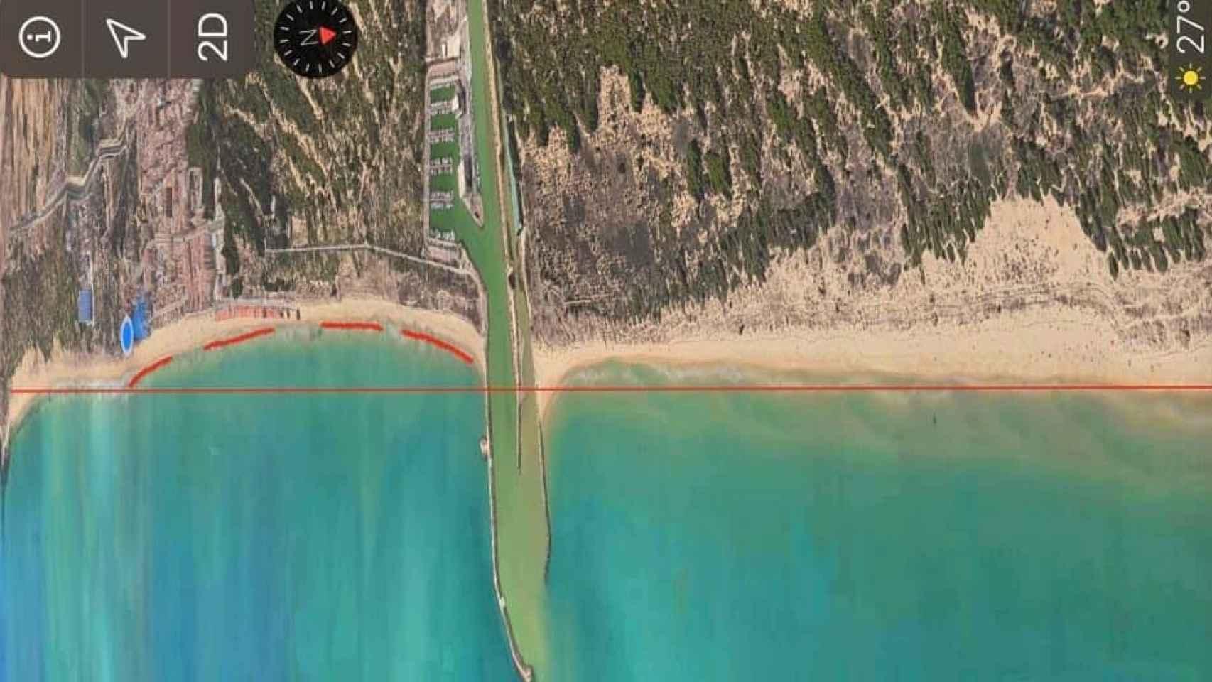 Regresión de las playas de Guardamar por la construcción del espigón.