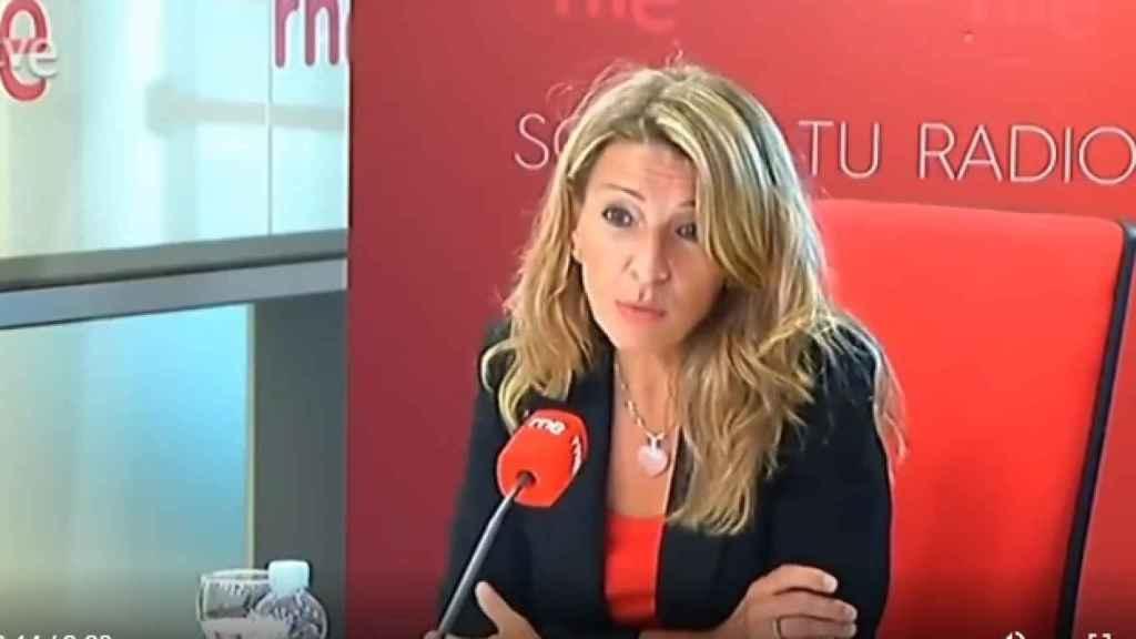 La ministra de Trabajo y Economía Social, Yolanda Díaz, este lunes en RNE.