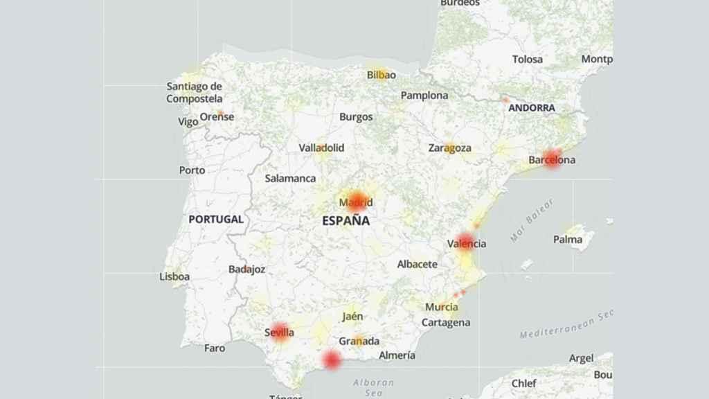 Mapa de fallos en Downdetector