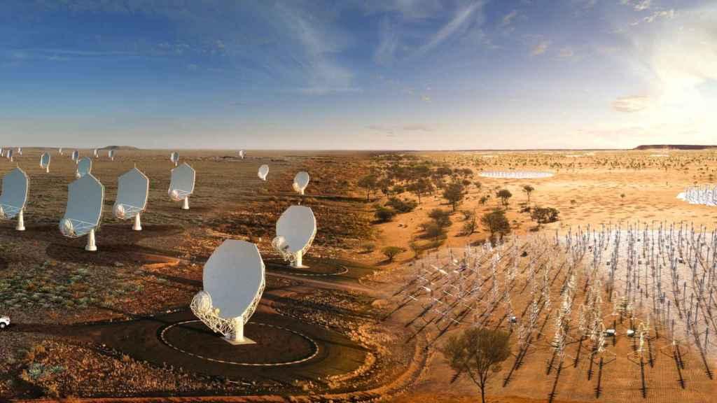 SKA (izquierda el SKA-Mid de Sudáfrica, derecha el SKA-Low de Australia)