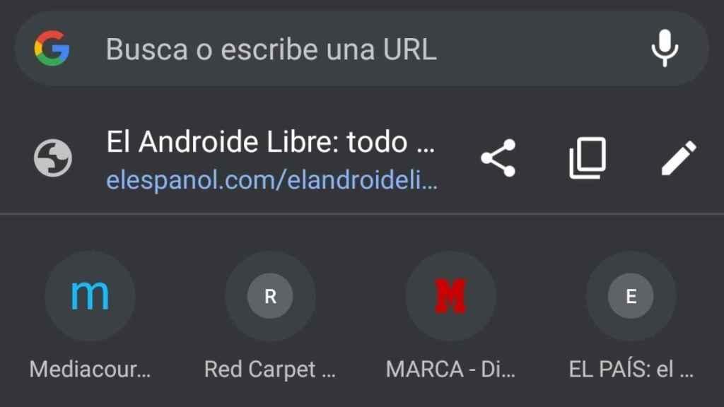 Chrome webs mas visitadas barra direcciones