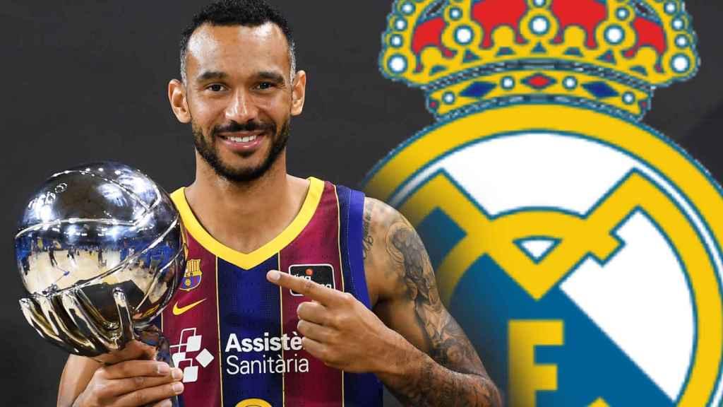 Adam Hanga y el escudo del Real Madrid, en un fotomontaje