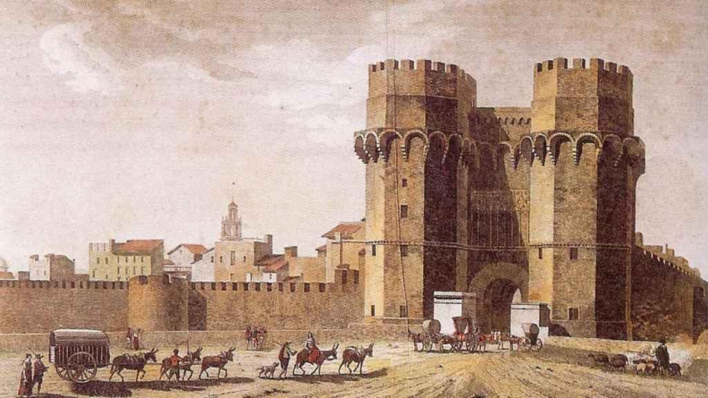 Grabado de la Puerta o Torres de Serranos