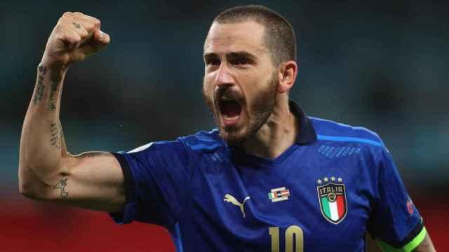 Leonardo Bonucci celebra un gol con la selección de Italia en la Eurocopa 2020