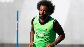 Marcelo, en un entrenamiento del Real Madrid