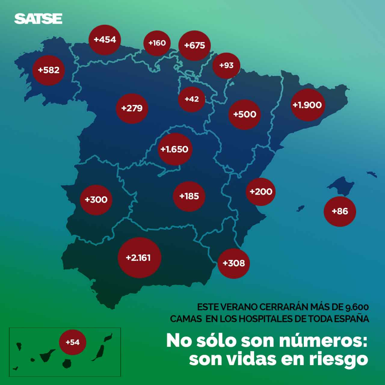 Mapa elaborado por el sindicato SATSE.