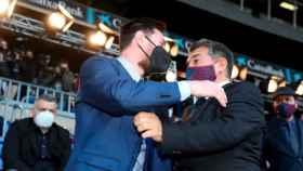 Leo Messi y Joan Laporta, durante la presentación de este como nuevo presidente del Barça