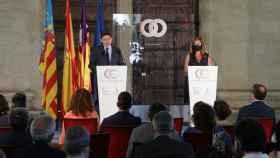 Ximo Puig y Francina Armengol, en la clausura de la cumbre entre los gobiernos valenciano y balear. EE