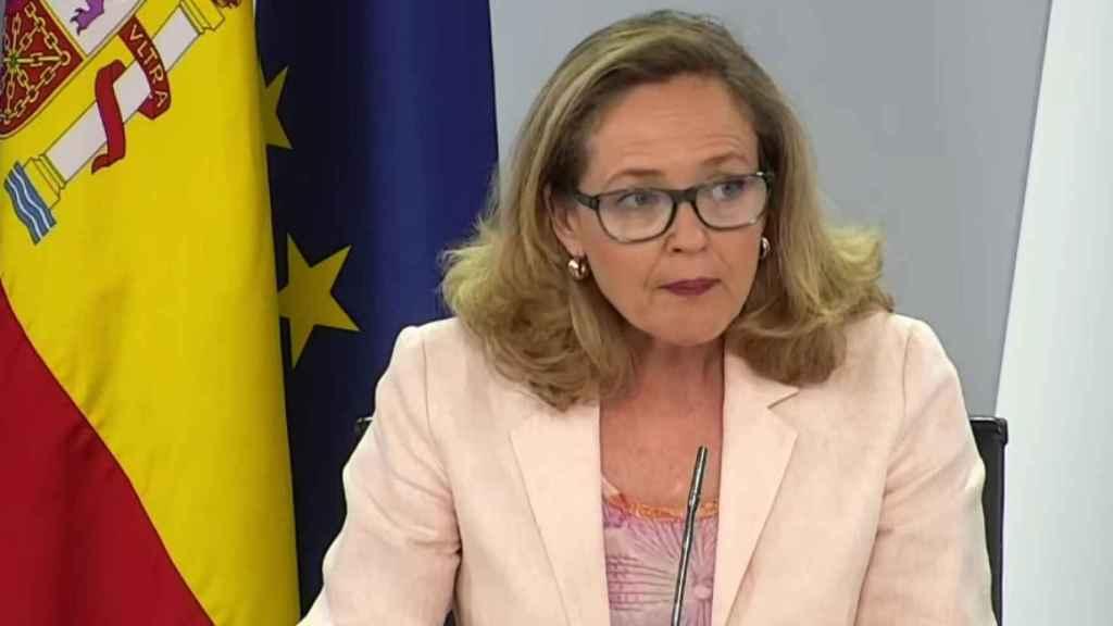 La vicepresidenta segunda y ministra de Asuntos Económicos y Transformación Digital, Nadia Calviño, tras el Consejo de Ministros.
