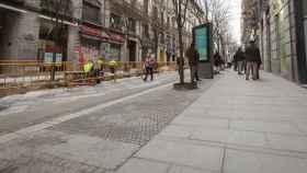 Las obras de repavimentación de las calles Montera y Arenal.