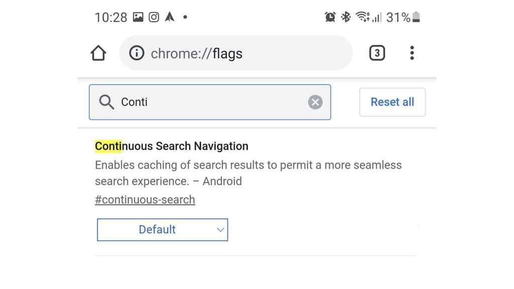 Activar Continuous Search Navigation