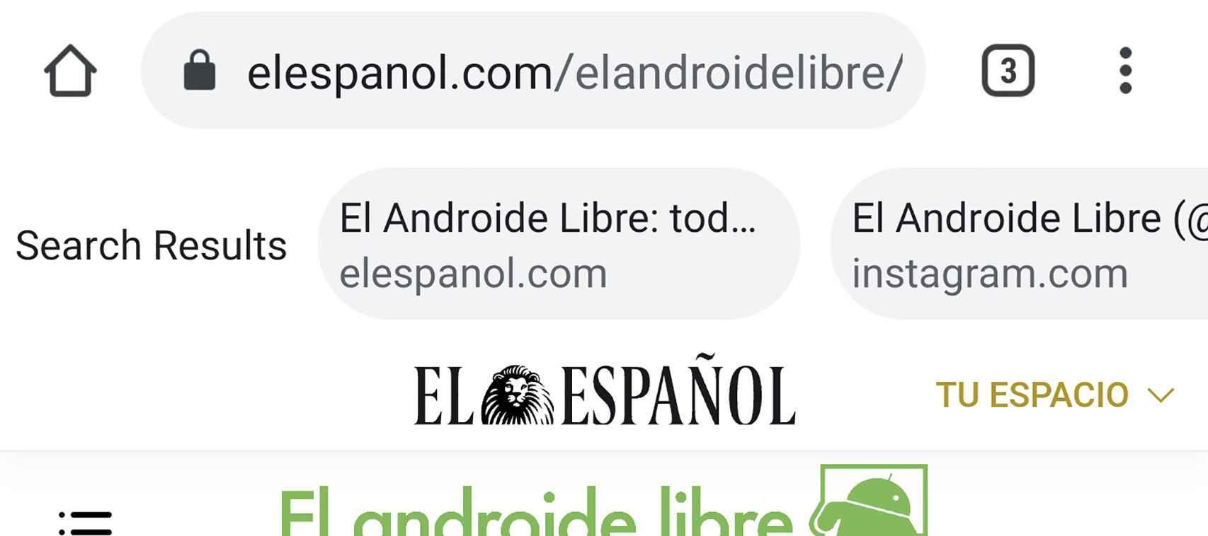 Los resultados de búsqueda en Chrome