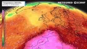 El mapa con la evolución de las temperaturas en los próximos días en España.