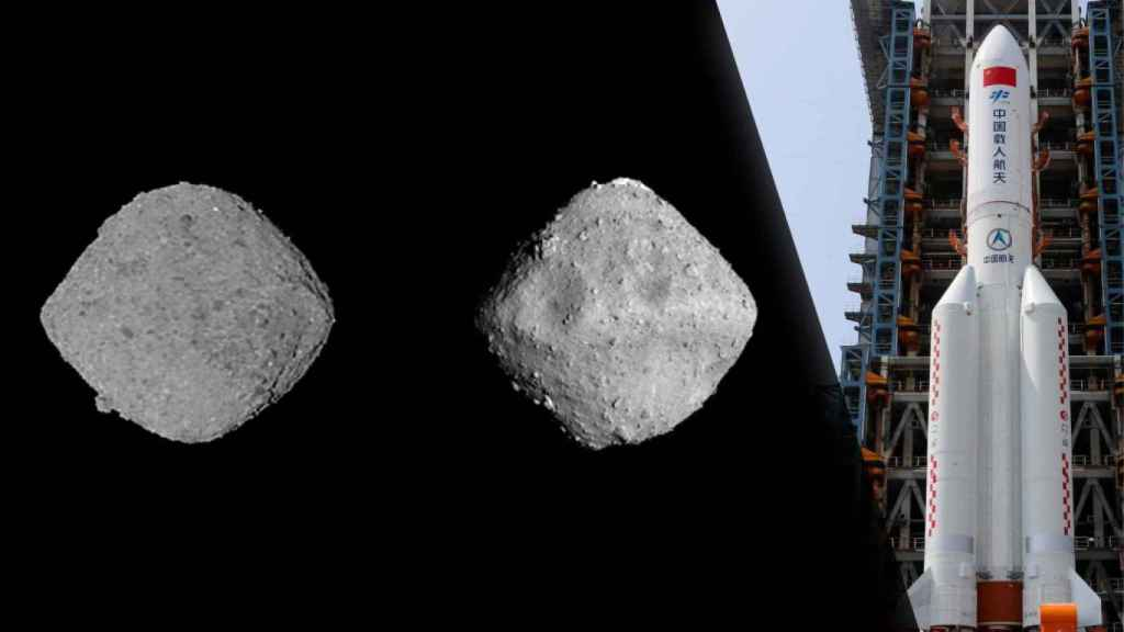 Asteroides Bennu y Ryugu junto con el Long March 5