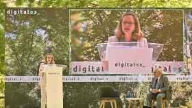 Nadia Calviño y Eduardo Serra en el acto inaugural de DigitalES Summit