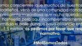 Cartel de la normativa de la discoteca de Xàbia 'El Molí'.