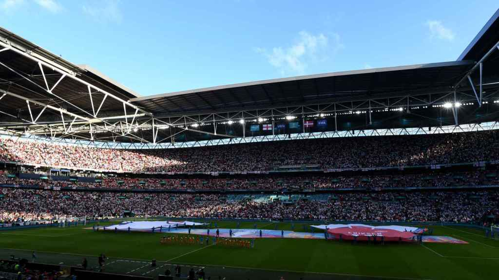 El estadio de Wembley antes del Inglaterra - Dinamarca de semifinales de la Eurocopa