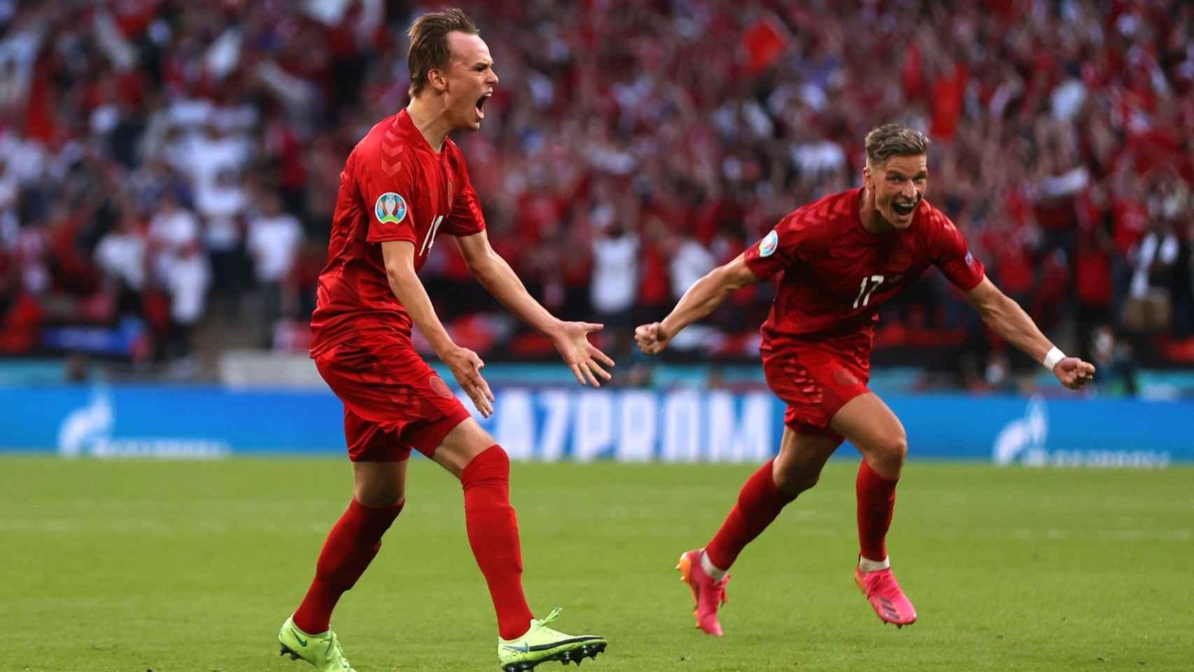 Damsgaard celebra su gol con Dinamarca ante Inglaterra