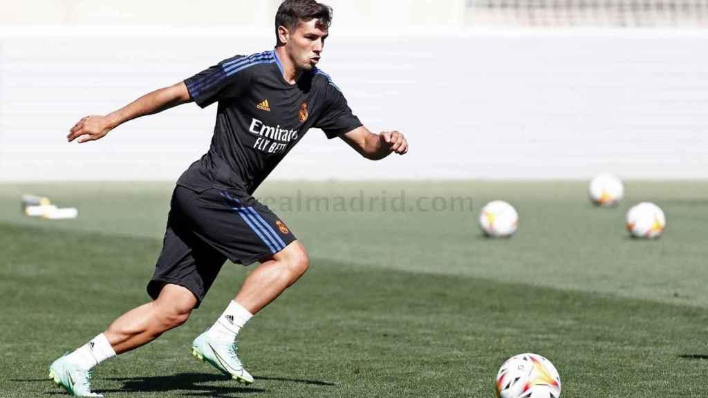 Brahim Díaz, durante un entrenamiento del Real Madrid