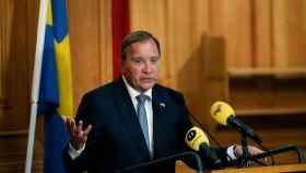 Stefan Löfven durante la rueda de prensa que ha ofrecido tras ser reelegido primer ministro sueco.