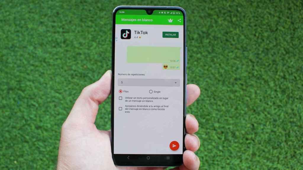 Así es la aplicación WhatsApp Blank Message en Android.