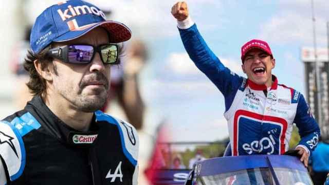 Fernando Alonso y Alex Palou, en un fotomontaje