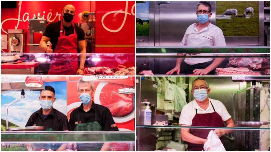 Varios carniceros del Mercado de las Maravillas de Madrid.
