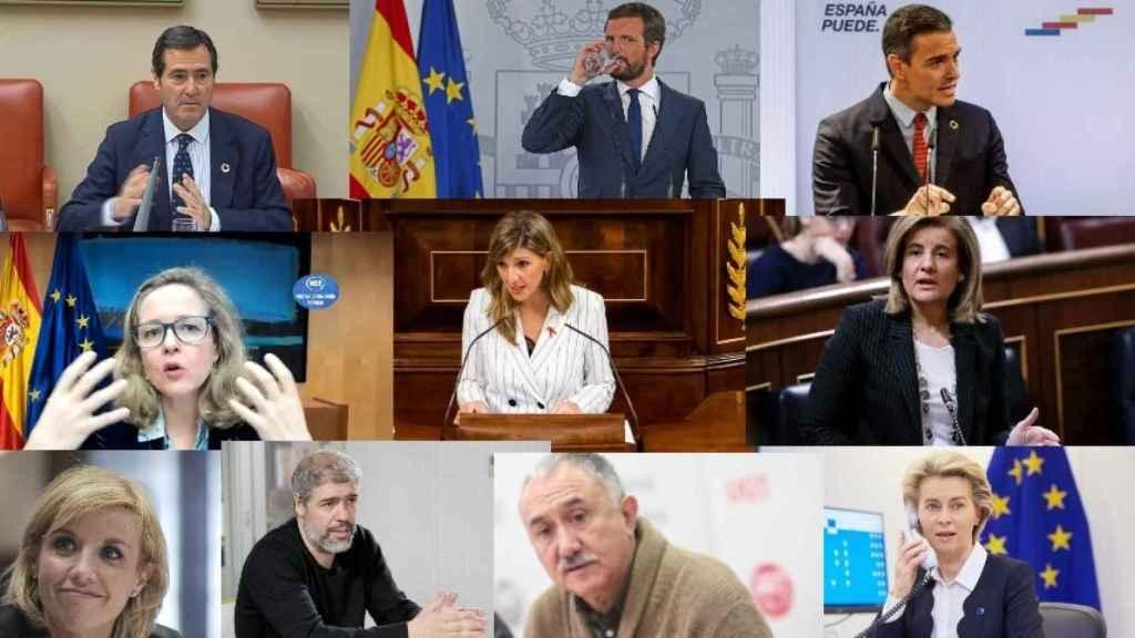 Antonio Garamendi, Pablo Casado, Pedro Sánchez, Nadia Calviño, Yolanda Díaz, Fátima Báñez, Rosa Santos, Unai Sordo, Pepe Álvarez y Ursula von der Leyen.