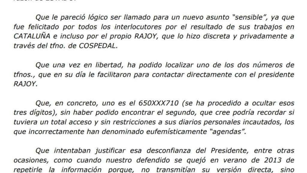 Fragmento del escrito que Villarejo remitió el jueves al juez Manuel García-Castellón.